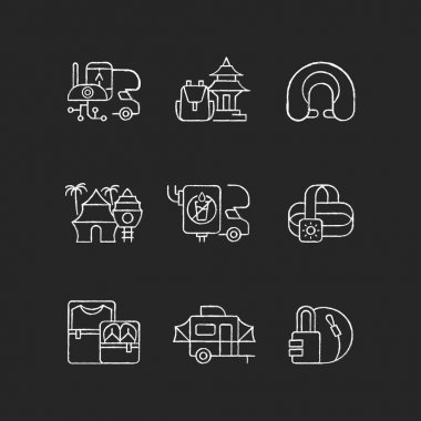 Roadtrip chalk white icons set on black background. Travel equipment. Spiritual nomad. Resort for tourists. Recreational getaway. Summer vacation. Isolated vector chalkboard illustrations icon