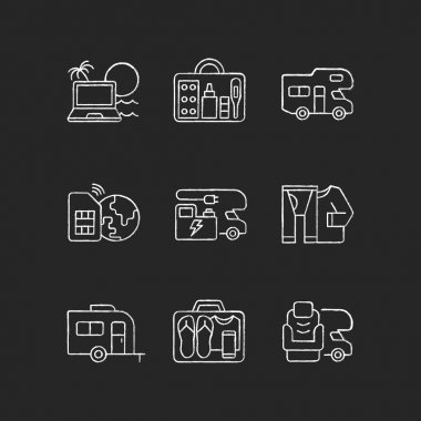 Travel chalk white icons set on black background. Recreational vehicle. Campground for RV. Roadtrip gear. Nomadic lifestyle. Summer vacation. Isolated vector chalkboard illustrations icon