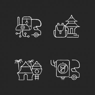 Vacation chalk white icons set on black background. RV electronics. Trailer devices. Spiritual nomad. Resort hotel. Van water tank. Summer vacation. Isolated vector chalkboard illustrations icon
