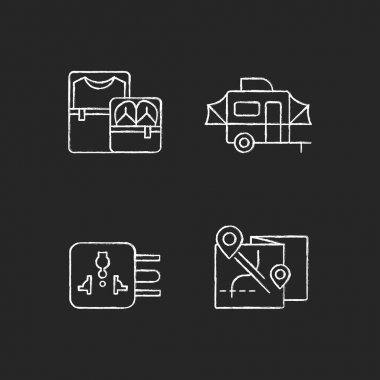 Traveler pack chalk white icons set on black background. Clothing cubes. Tourist baggage. Map for camper. Universal adapter. Roadtrip gear. Nomadic lifestyle. Isolated vector chalkboard illustrations icon