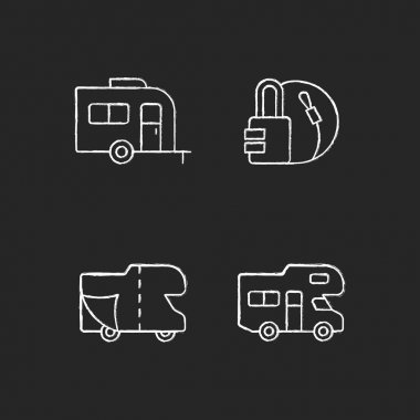 Trailer for van lifestyle chalk white icons set on black background. Cover sheet for RV. Campground for vans. Travel lock. Roadtrip gear. Nomadic life. Isolated vector chalkboard illustrations icon