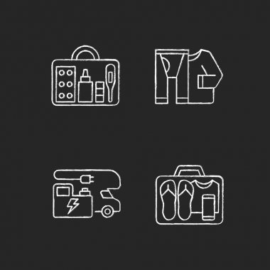 Traveler things for vacation chalk white icons set on black background. Trailer electricity generator. Thermal wear. First aid kit. Nomadic lifestyle. Isolated vector chalkboard illustrations icon