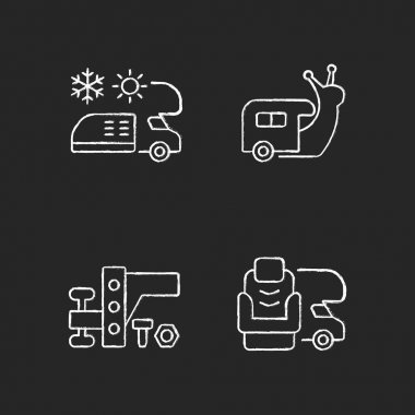 Recreational vehicle chalk white icons set on black background. Slow travel. Air conditioning and heating. Towing gear. Furniture for van. Nomadic lifestyle. Isolated vector chalkboard illustrations icon