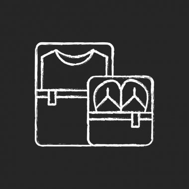 Packing cubes chalk white icon on black background. Containers with zippers. Pack clothes in luggage. Roadtrip gear. Nomadic lifestyle. Summer vacation. Isolated vector chalkboard illustration icon