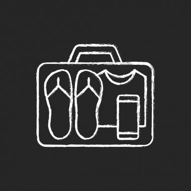 Minimalist mindset chalk white icon on black background. Pack clothing in luggage. Apparel in suitcase. Roadtrip gear. Nomadic lifestyle. Summer vacation. Isolated vector chalkboard illustration icon