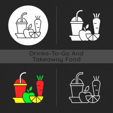 Fresh juice to go dark theme icon. Fruit and vegetable smoothies. Balanced diet. Meal replace. Blending ingredients. Linear white, simple glyph and RGB color styles. Isolated vector illustrations icon