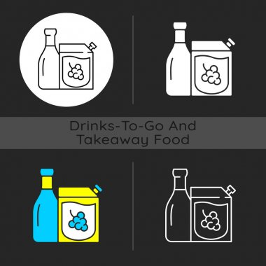 Wine to go dark theme icon. Alcohol ordering. Red and white wine. Moderate drinking. Alcoholic beverages consumption. Linear white, simple glyph and RGB color styles. Isolated vector illustrations icon