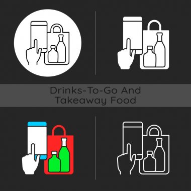 Phone drinks ordering dark theme icon. Click-and-collect option. Delivery from bar. Mobile-based ordering system. Linear white, simple glyph and RGB color styles. Isolated vector illustrations icon