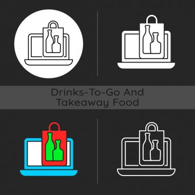 Online drinks ordering dark theme icon. Purchasing alcohol online. Alcoholic beverages home delivery. Selecting wine. Linear white, simple glyph and RGB color styles. Isolated vector illustrations icon