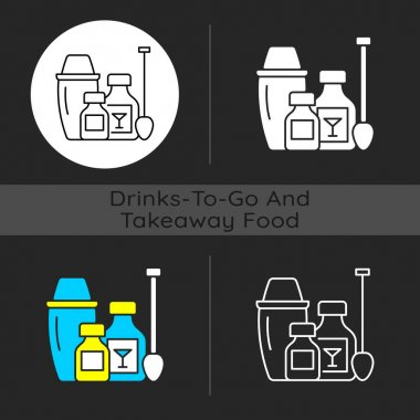 Cocktail kits dark theme icon. Alcoholic drink recipes from bartenders. Cocktail shaker. Bar experience at home. Linear white, simple glyph and RGB color styles. Isolated vector illustrations icon