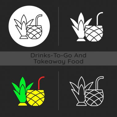 Pina colada dark theme icon. Mixed alcoholic drink, cocktail. Tropical taste. No sugar-added strained pineapple juice. Linear white, simple glyph and RGB color styles. Isolated vector illustrations icon