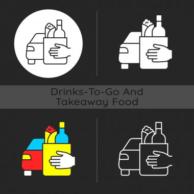 Drinks and food curbside pickup dark theme icon. Delivery to consumer vehicle. New revenue for restaurant, cafe. Linear white, simple glyph and RGB color styles. Isolated vector illustrations icon