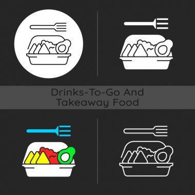 Family-style meals takeout dark theme icon. Dinner for parents and kids. Family-sized portions. Delivery from restaurant. Linear white, simple glyph and RGB color styles. Isolated vector illustrations icon
