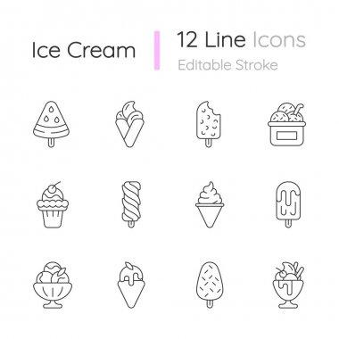 Ice cream varieties linear icons set. Watermelon shape on stick. Soft serve. Creamy dessert. Sorbet. Customizable thin line contour symbols. Isolated vector outline illustrations. Editable stroke icon