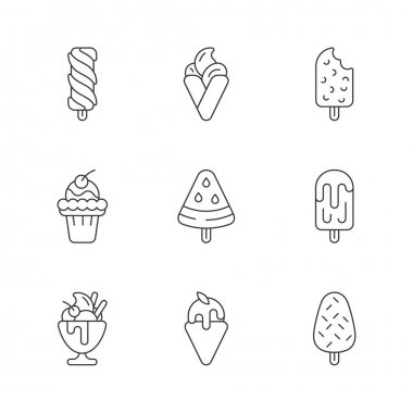 Ice cream variations linear icons set. Swirled treat on stick. Chocolate-covered dessert. Soft serve. Customizable thin line contour symbols. Isolated vector outline illustrations. Editable stroke icon
