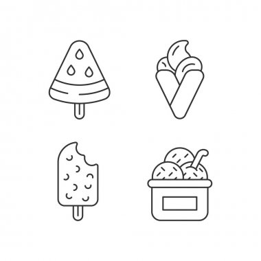 Ice cream types linear icons set. Watermelon shape on stick. Hong kong waffles. Frozen treat in cup. Customizable thin line contour symbols. Isolated vector outline illustrations. Editable stroke icon