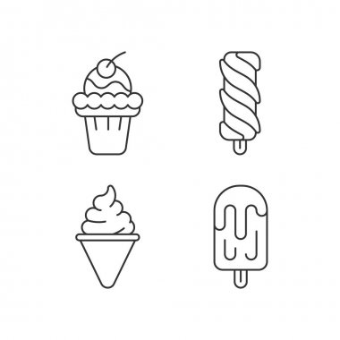 Ice cream varieties linear icons set. Soft ice in waffle bowl. Popsicles. Cone-shaped frozen pastry. Customizable thin line contour symbols. Isolated vector outline illustrations. Editable stroke icon