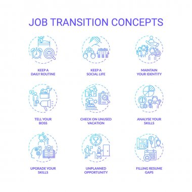 Job transition concept icons set. Career change advices idea thin line RGB color illustrations. How be successful. Upgrade your skills. Vector isolated outline drawings icon