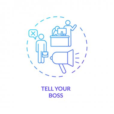 Tell your boss concept icon. Job resignation step idea thin line illustration. Communicate with your employer. Career change notice. Vector isolated outline RGB color drawing icon