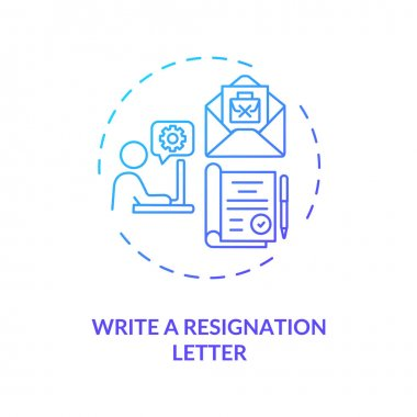 Write a resignation letter concept icon. Notice your employer idea thin line illustration. Explain transition reason. Send email. Vector isolated outline RGB color drawing icon