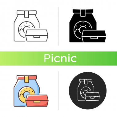 Take away food icon. Packaging designs. Meal storage. Eco-friendly bags. Outdoor summer lunches. Keeping food from spoiling. Linear black and RGB color styles. Isolated vector illustrations icon