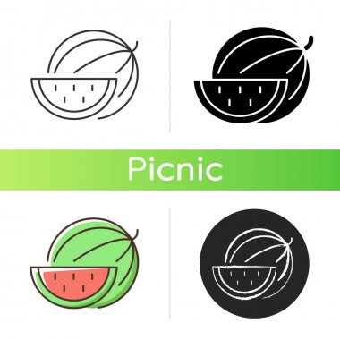 Watermelon icon. Serving fruit for picnic. Low-calorie treat. Body detoxification. Fighting dehydration. Cutting into pieces. Linear black and RGB color styles. Isolated vector illustrations icon