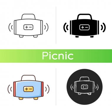 Wireless loudspeaker icon. Streaming music. Portability. Outdoor gatherings. Radio waves. Audio quality. Playing music files. Linear black and RGB color styles. Isolated vector illustrations icon