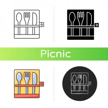 Picnic cutlery icon. Knives, spoons and forks. Eco-friendly, biodegradable items for outdoor lunch. Tools for food serving. Linear black and RGB color styles. Isolated vector illustrations icon