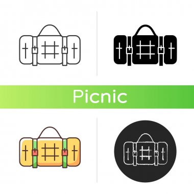 Picnic blanket icon. Houseware item. Cloth napkin. Backpacking trip. Laying on ground for camping. Outdoor dining. Coziness factor. Linear black and RGB color styles. Isolated vector illustrations icon