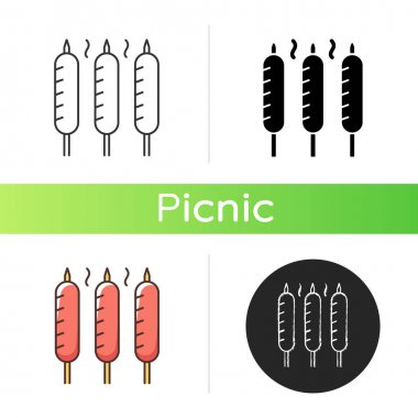 Grilled sausages icon. Summer side dishes. Meat product for barbecue. Frying. Sear-roasting on grill. BBQ party. Chicken, pork sausage. Linear black and RGB color styles. Isolated vector illustrations icon