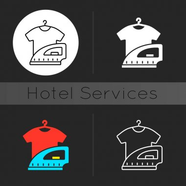 Laundry dark theme icon. Hotel laundry service is service that washes clothes. Keeping clean wearing for guests. Linear white, simple glyph and RGB color styles. Isolated vector illustrations icon