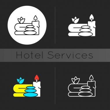 Spa dark theme icon. Luxurious spa facilities and signature spa treatments. Offering special activity. Linear white, simple glyph and RGB color styles. Isolated vector illustrations icon