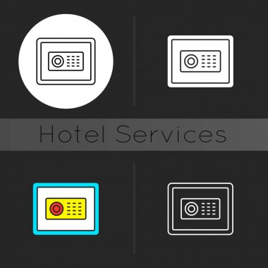 Safe dark theme icon. Store different amounts of cash and items you do not want anyone to see when you are traveling. Linear white, simple glyph and RGB color styles. Isolated vector illustrations icon