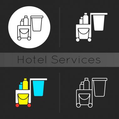 Cleaning service dark theme icon. Housekeeping is department in hotel which is responsible for cleanliness of rooms. Linear white, simple glyph and RGB color styles. Isolated vector illustrations icon