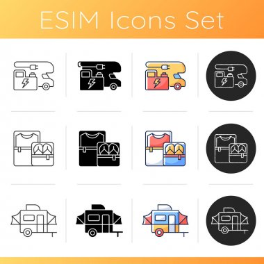 Nomadic lifestyle icons set. Power generation for trailer. Cubes for packing clothing. Pop up camper van. Summer vacation. Linear, black and RGB color styles. Isolated vector illustrations icon