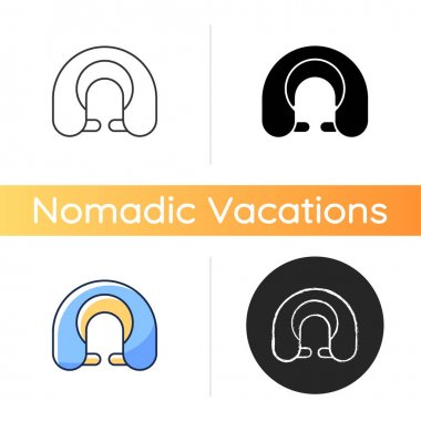 Travel pillow icon. Neck cushion for good posture. Napping accessory. Roadtrip gear. Nomadic lifestyle. Vacation things. Linear black and RGB color styles. Isolated vector illustrations icon