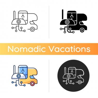 RV electronics icon. Gadgets for trailer, devices for recreational vehicle. Roadtrip gear. Camping trip necessities for traveler. Linear black and RGB color styles. Isolated vector illustrations icon