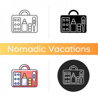 Small first aid kit icon. Health care emergency bag. Roadtrip gear. Nomadic lifestyle equipment. Camping trip necessities for traveler. Linear black and RGB color styles. Isolated vector illustrations icon