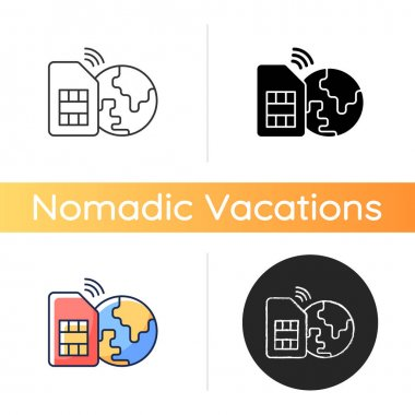 Global SIM card icon. Smartphone connection around planet. Travel necessities for international tourist. Global communication. Linear black and RGB color styles. Isolated vector illustrations icon