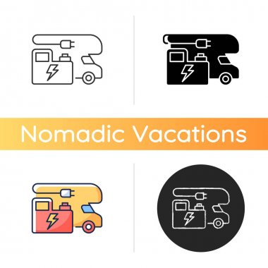 RV power generators icon. Electricity supply. Portable technology for trailer van. Roadtrip gear. Nomadic lifestyle. Linear black and RGB color styles. Isolated vector illustrations icon