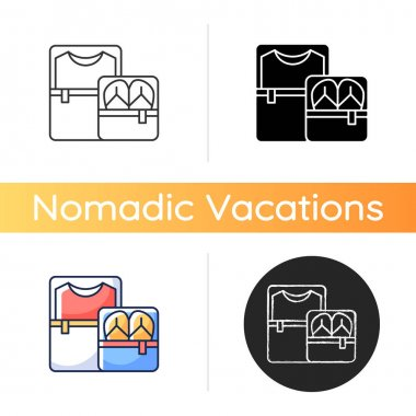 Packing cubes icon. Containers with zippers. Pack clothes in luggage. Roadtrip gear. Nomadic lifestyle. Summer vacation. Linear black and RGB color styles. Isolated vector illustrations icon