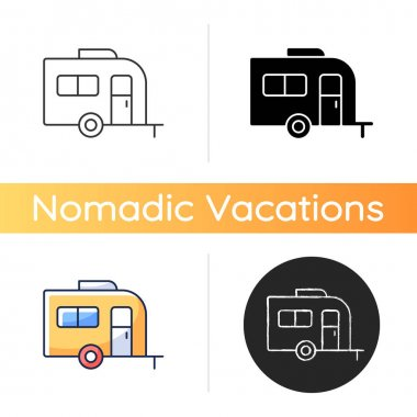 Caravan icon. Trailer for nomads lifestyle. Roadtrip transportation. Camper bus. Trailer for trip during summer vacation. Linear black and RGB color styles. Isolated vector illustrations icon