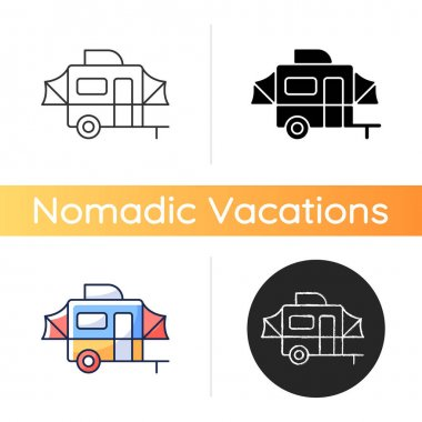 Pop up camper icon. Campground for tourist to rest. Recreational vehicle. Roadtrip gear. Nomadic lifestyle. Summer vacation. Linear black and RGB color styles. Isolated vector illustrations icon