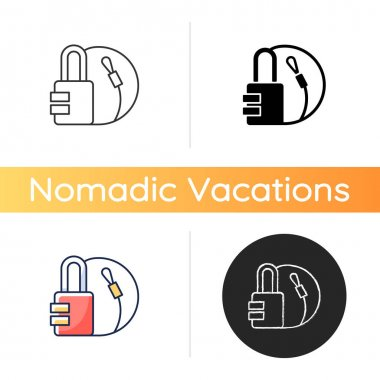 Travel padlock icon. Safe lock for luggage and suitcases. Combination key for bags. Roadtrip gear. Nomadic lifestyle. Linear black and RGB color styles. Isolated vector illustrations icon