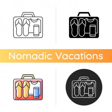 Minimalist mindset icon. Pack clothing in luggage. Apparel in suitcase. Roadtrip gear. Nomadic lifestyle. Summer vacation. Linear black and RGB color styles. Isolated vector illustrations icon