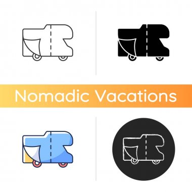 RV covers icon. Roadtrip gear. Trailer service. Campground for vans. Nomadic lifestyle. Camping trip necessities for traveler. Linear black and RGB color styles. Isolated vector illustrations icon