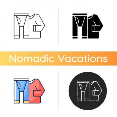 Thermal underwear icon. Sportswear and thermo clothing. Leggins and shirt for tourist. Roadtrip gear. Nomadic lifestyle. Linear black and RGB color styles. Isolated vector illustrations icon