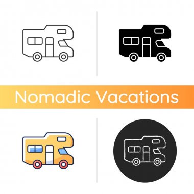 Recreational vehicle icon. Roadtrip trailer. Van for touring. Nomadic lifestyle. Auto transportation. Camping trip for traveler. Linear black and RGB color styles. Isolated vector illustrations icon