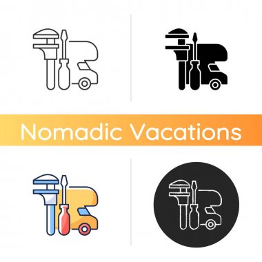 RV maintenance icon. Professional service for trailer repair. Fix auto for travel. Roadtrip gear. Nomadic lifestyle. Linear black and RGB color styles. Isolated vector illustrations icon