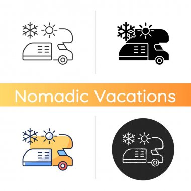 RV air conditioning and heating icon. Climate control for trailer. Van technology. Roadtrip gear. Nomadic lifestyle. Linear black and RGB color styles. Isolated vector illustrations icon